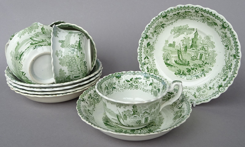 Green Transferware Cups Saucers